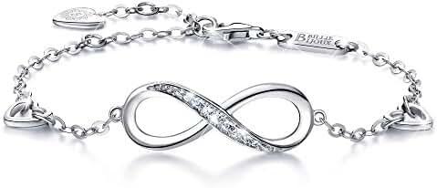 Billie Bijoux Womens 925 sterling Silver Infinity Endless Love Symbol Charm Adjustable Bracelet