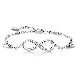 Billie Bijoux Womens 925 Sterling Silver Infinity Endless Love Symbol Charm Adjustable Bracelet for Women Mother's Day