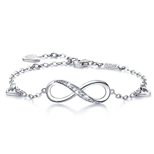 (Billie Bijoux Womens 925 Sterling Silver Infinity Endless Love Symbol Charm Adjustable Bracelet Gift for Women Girls (A- Silver))