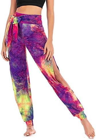 Falags Womens High Waisted Yoga Pants Tie Dye Side Slit Beach Jogger Pant Tummy Control Stretch Harem