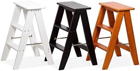 CATLXC Chaise échelle, Tabouret de ménage en Bois Massif, Tabouret d'intérieur, escabeau Pliable, Double Usage, Portable, 3 marches, L