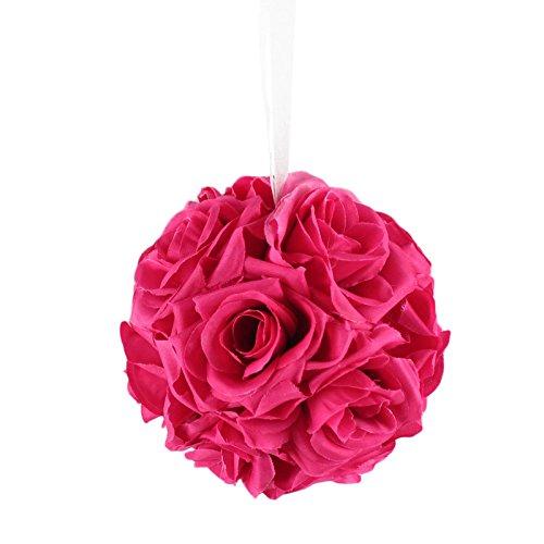 AerWo 6 Inch Kissing Ball Pomander Flower Crystal Pew Wedding Silk Party Rose Fuchsia - Fuchsia Rose