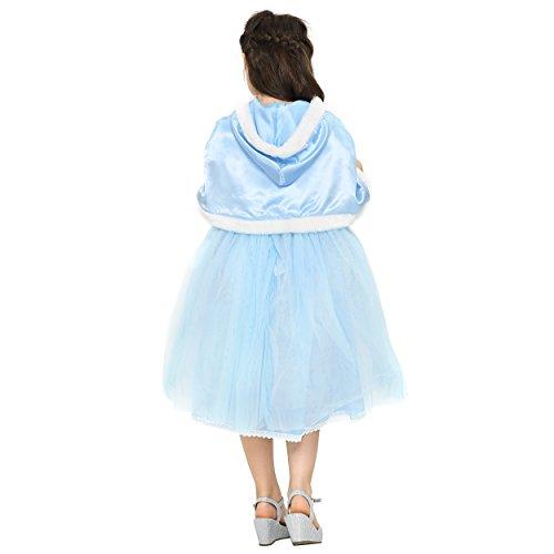 Katara Disfraz de Princesa de las Nieves, vestido elegante de Elsa con falda de tul y manto con capucha para niñas de 4-5 años, color azul (1681): ...