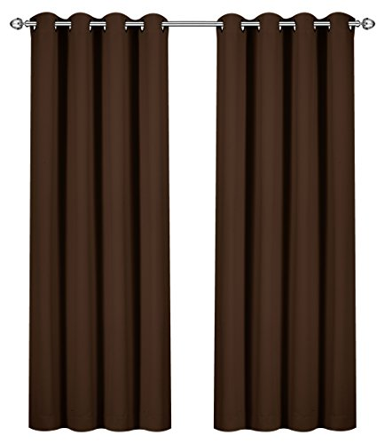 (Utopia Bedding Blackout Room Darkening and Thermal Insulating Window Curtains/Panels/Drapes - 2 Panels Set - 8 Grommets per Panel - 2 Tie Backs Included (Chocolate, 52 x 84 Inches with Grommets) )