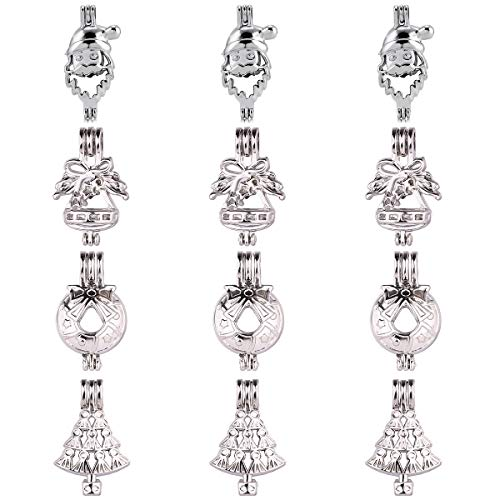 12pcs Mixed Christmas Theme Rhodium Plated Hollow Pendants Pearl Bead Cage Pendant Essential Oil Scent Diffuser Pendant Necklace Jewelry Making Supplies (Style16)