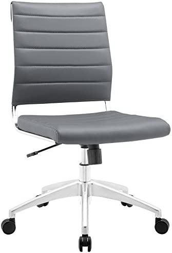 Modway Jive Ribbed Armless Mid Back Swivel Conference Chair In Gray