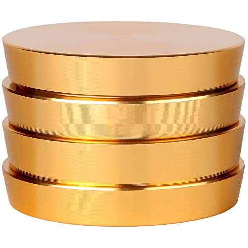 Zip Grinders - Pagoda Tower Spice and Herb Grinder - Four Piece with Pollen Catcher - Premium Grade Aluminum (2.5, Gold)