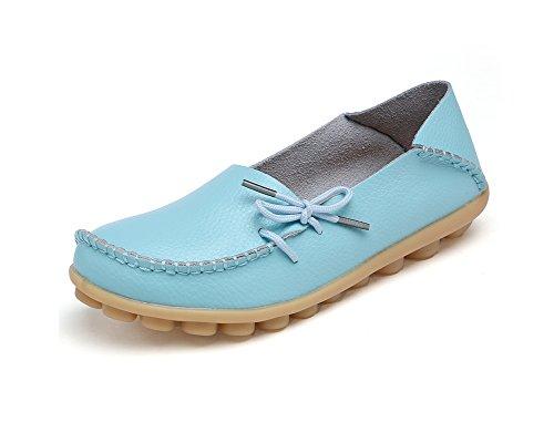 Verocara Kvinna Läder Snörning Tillfälliga Platta Skor Kör Loafers Himmelsblå