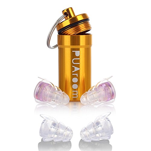 Price comparison product image PUAroom 2 Pair Earplugs High Fidelity Ear Plugs with Aluminum Case,  Noise Canceling Filter Reusable All Ears Earplugs for Musicians / Snoring / Concerts / Travel / Sport Drummers / Home Improvement / DJ(Purple)
