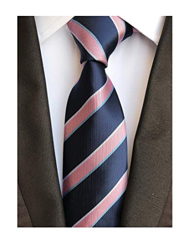 (Men's Pink and Navy BLUE Ties Striped Patterned Graduation Student Silk Neckties )