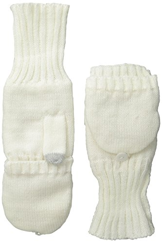NORTH POINT Women's Flip-Top Sherpa-Lined Glove with Touch Technology, Ivory, One Size