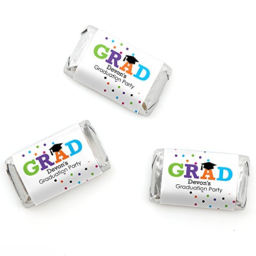 Custom Hats Off Grad - Personalized Graduation Mini Candy Bar Wrappers - 20 Count (Candy Graduation Bars Personalized)