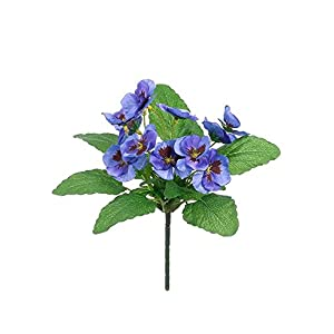 "Afloral Pansy Silk Flower Bush in Blue - 10"" Tall 119"