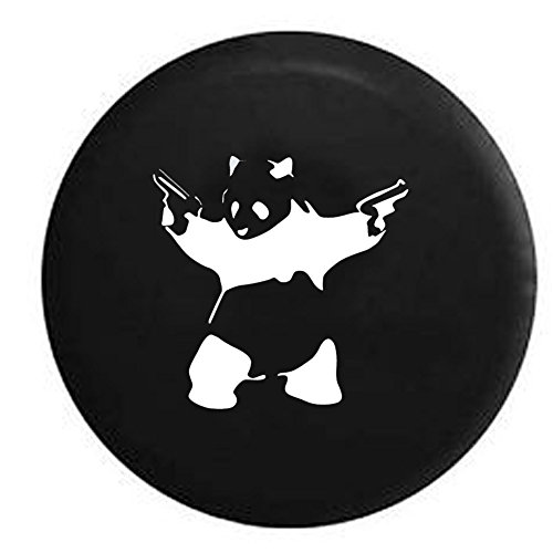 Panda Bear Guns 2A Pistols Bamboo Jeep Spare Tire Cover Vinyl Black 33 in