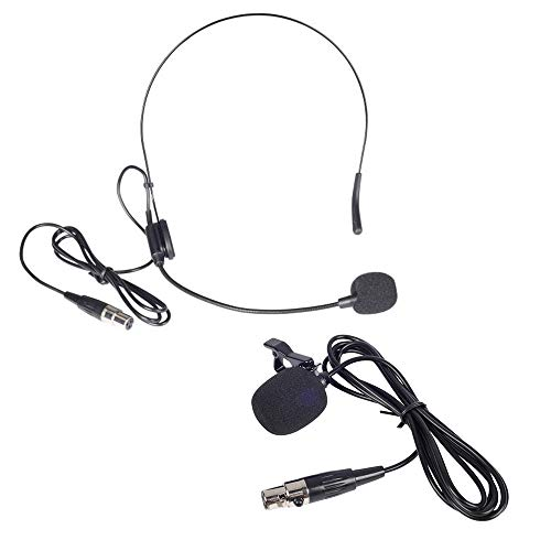 Phenyx Pro Lavalier Lapel Microphone/Headset Microphone Combo with Mini XLR Jack, Hand-Free Clip-on Lapel Mic, and Flexible Wired Boom Headset Mic, for Voice Amplifier, Audio Sound System (Black)