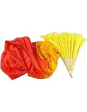 LANDUM New Colorful Belly Dance Bamboo Long Silk Fans Veils 4 Colors Hand Made Silk Fan Yellow + Orange + Red