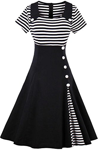 Ayli Women's Scoop Short Sleeve Black White Stripe 1950s Retro Midi Dress, US-6/Tag-M/02w022 (White Retro Black And)
