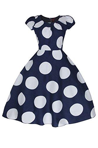 Mujeres años 1950 retro Vintage años 40 Guisantes Mancheron Swing-vestido de fiesta tamaño se azul marino