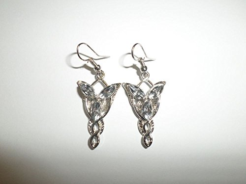 Coins_Stamps_and_More One Pair of Silver Plated Star Hook (Evenstar Earrings)