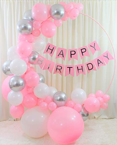 Birthday Decorations for Women and Girls,birthday balloon arch & garland kit,hanging birthday decor,Set Includes: Happy Birthday Banner Pink and Silver, 88 Pink ,Silver and White balloons,DIY Tool Kit