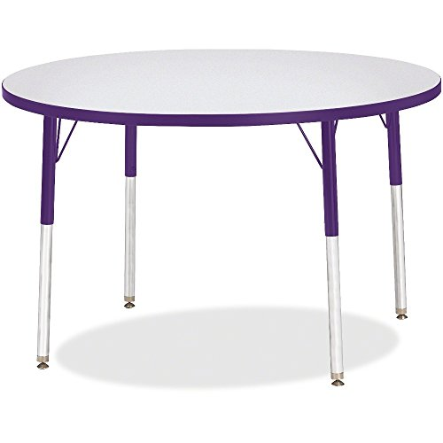 Kid's Round Activity Table w Laminate Top and Adjustable Legs (42 in. Dia x 24 - 31 in. H - Purple) by Jonti-Craft