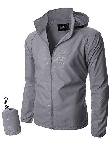 Doublju Mens Unique Waterproof Rain jacket LIGHTGRAY (US-2XL)
