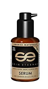 Source Naturals Skin Eternal Serum Moisturizing Skin Food For Face & Neck With C-Ester, DMEA, Lipoic Acid & More - Paraben Free Lotion Promotes Soft, Smooth, Younger Looking Skin - 1.7oz