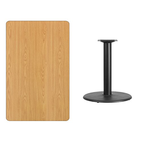 Flash Furniture 30'' x 48'' Rectangular Natural Laminate Table Top with 24'' Round Table Height Base ()