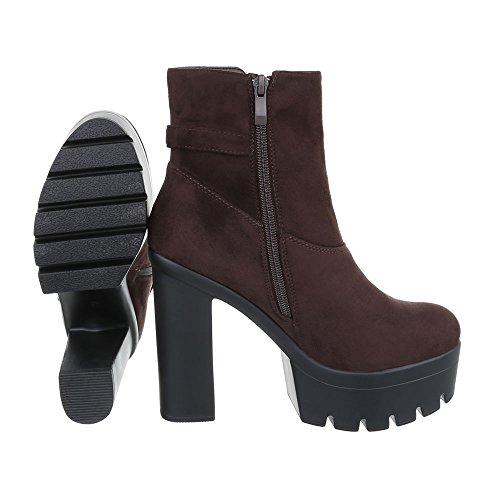 Ital-Design - Botas plisadas Mujer marrón oscuro