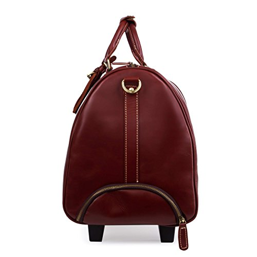 Mens large genuine leather travel wheeled duffle luggage carry on rolling ebay for Leather luggage wheeled duffel