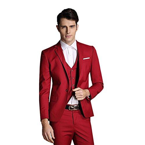 Men%27s+Notch+Lapel+Modern+Fit+Suit+Blazer+Jacket+Tux+Vest+%26+Trousers+Set+Three-Piece