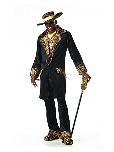 Halloween Pimp Costumes (Mens Medium (40-42 Jacket) Stylin Supa Mac Daddy (Jewelry, Shoes, Shirt, Cane not)