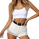 Uscharm Slim Crop Tops Backless Sleeveless Shirts Womens Solid Color Vest Tanks Strap V-Neck Camisole (White, L)