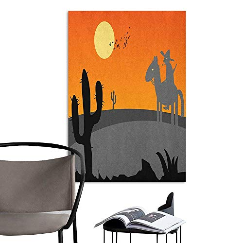 Jaydevn Wall Mural Wallpaper Stickers Southwestern Cartoon Style Hot Mexico Desert Landscape with Saguaro Cactus and Horse Rider Multicolor Warm and Romantic W16 x H20 -
