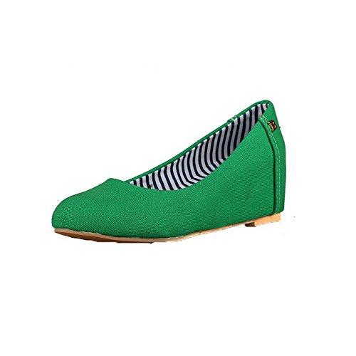 Amoonyfashion Damesslippers-kitten-hakken Stof Stevige Ronde Neus Pumps-schoenen Groen