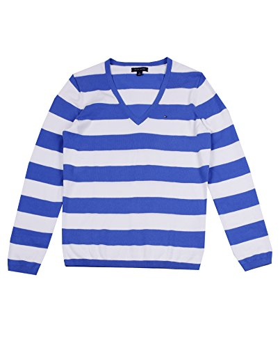Tommy Hilfiger Women's V-Neck Stripe Sweater (M, Blue/White)