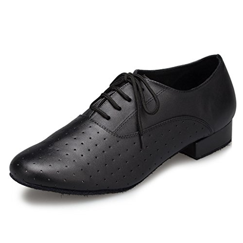 CRC Men's Stylish Round Toe Lace up Black Leather Salsa Tango Ballroom Morden Latin Jazz Rumba Professional Dance Shoes 11 M US by CRC