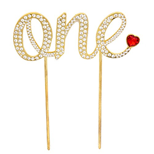 "Pensoda Unique Happy Birthday Design Luxury ""One"" Metal Rhinestone Topper Party Cake Topper Handmade 1st First Birthday Cake Topper Decoration"