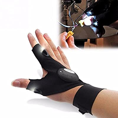 Fabal Fingerless Glove LED Flashlight Torch Outdoor Fishing Camping Hiking Magic Strap Survival Rescue Tool Light Left/Right Hand