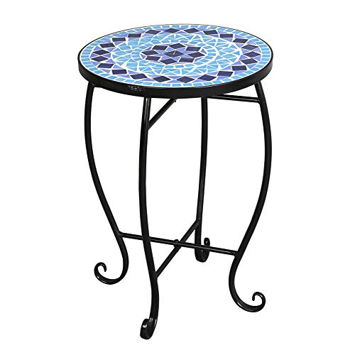 SHOPPER's CHOICE - Blue Round Mosaic Side Accent Table Patio Plant Stand Porch Beach Theme DIY Balcony Room Gallery Bedroom Rust Resistant 4 Legs (Top Table Mosaic Diy Patio)