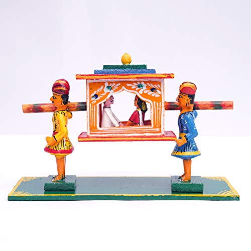 ANDHRA HAND CRAFTS -KONDAPALLI Wooden PALLAKI with Couple Small (MENA) 9X3X6