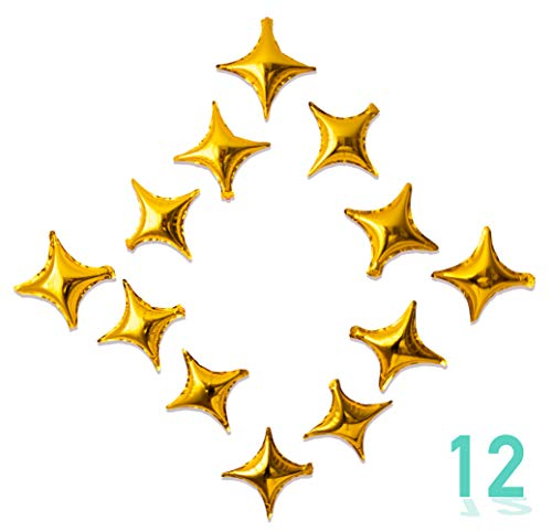 - 12 Mini Star Foil Balloons Gold 7 inches Party Decorations Auto-Seal 12 Count