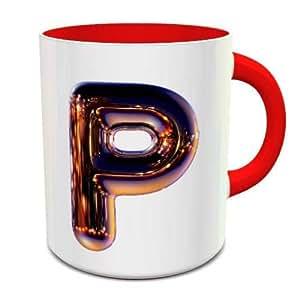 White & Red Ceramic Coffee Mug With Night Chrome Letter P