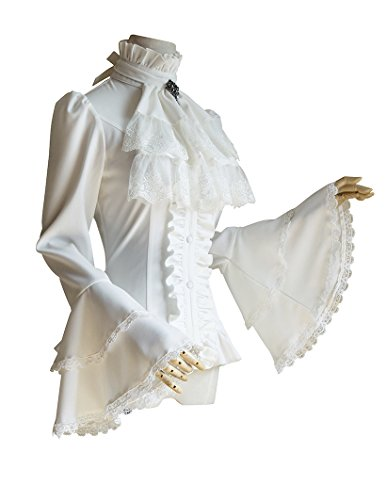 Vintage Gothic Stand-up Collar Shirt White Shirt Jabot Cravat (Small, White)