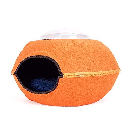 QNMM Ecológico Fieltro Cat Cave Bed Creative Flying Saucer Felt Cat Nest Diseño Desmontable Adecuado para Gatos de 7 kg /...