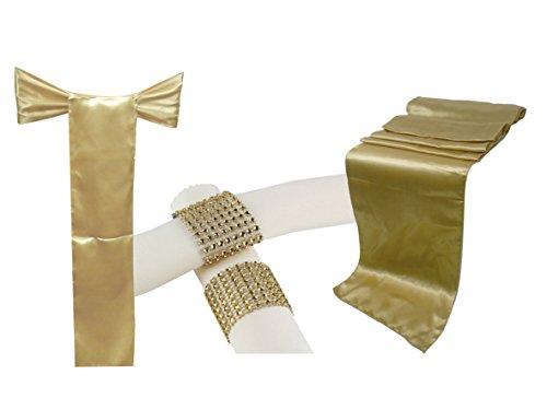 Combo Pack 1 Satin Table Runner 12x108 Inch & 5 Chair Bow Sash & 5 Plastic Rhinestone Napkin Rings Wedding Banquet Kitchen HomeDecor (Elena Table Coffee)
