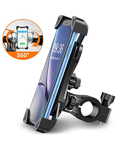 STOON Bike Phone Mount, Open-Face Motorcycle Bicycle Phone Mount with Adjustable Clamp, 360°Rotation, Fits iPhone 11 X XR XS MAX 8 7 6 Plus, Samsung S10 S9 S8, Note 10 9 8, 4.5-7 inches Cell Phones
