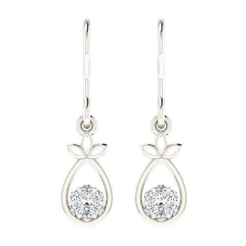 Libertini Boucle d'oreille argent 925 serti de Diamant Pendre