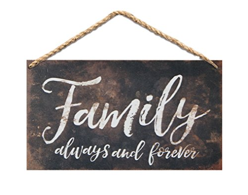 P. Graham Dunn Family Always & Forever Wood 6 x 3.5 Printed Overlay Mini Wall Hanging Plaque Sign