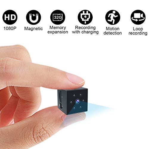 Mini Spy Camera,Lnhaa Spy Hidden Camera,Hidden Camera HD 1080P Portable Small Nanny Cam Security Cameras Built-in Magnetic&Wearable Night Vision Camera with Motion Detection Cop Camera